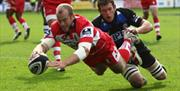 Try being scored by Gloucester Rugby at Kingsholm
