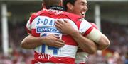 Celebrating a try at Kingsholm