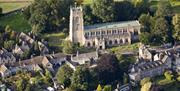An aerial view of Winchcombe and the church